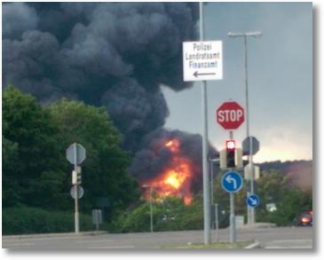 Brand auf der Hulb in Böblingen
